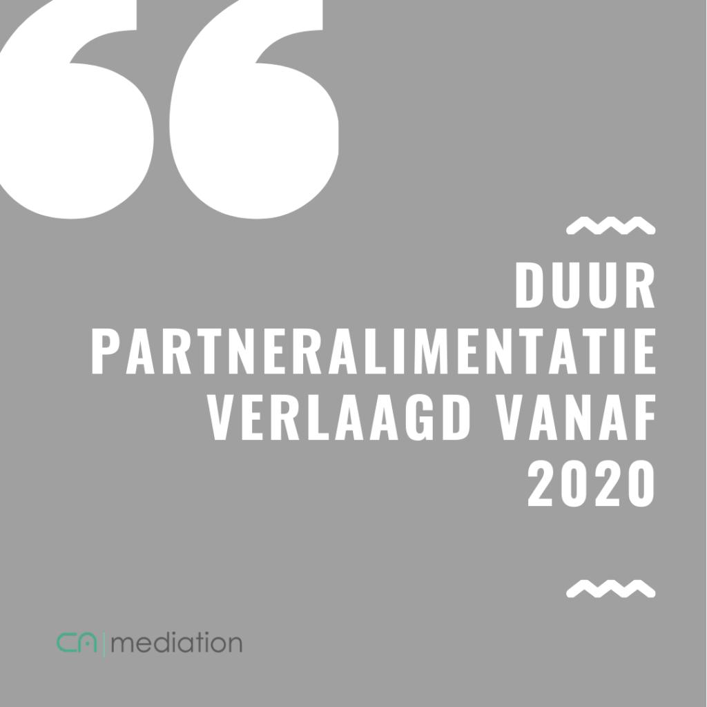 Duur partneralimentatie verlaagd vanaf 2020